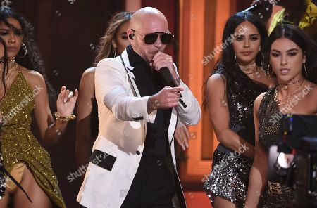 Stock Image of Pitbull performs at the Latin American Music Awards, at the Dolby Theatre in Los Angeles