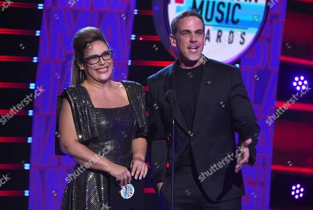 Stock Picture of Angelica Vale, Carlos Ponce. Angelica Vale, left, and Carlos Ponce speak at the Latin American Music Awards, at the Dolby Theatre in Los Angeles