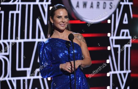 Kate Del Castillo presents the international artist award of excellence at the Latin American Music Awards, at the Dolby Theatre in Los Angeles