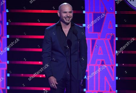 Pitbull introduces the extraordinary evolution award at the Latin American Music Awards, at the Dolby Theatre in Los Angeles