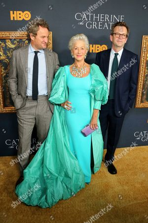 "Jason Clarke, Helen Mirren, Philip Martin. Jason Clarke, from left, Helen Mirren and director Philip Martin attend the LA Premiere of ""Catherine the Great"" at the Hammer Museum, in Los Angeles"