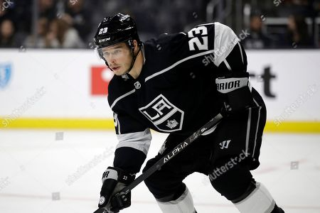 Los Angeles Kings' Dustin Brown (23) in action against the Buffalo Sabres during the first period of an NHL hockey game, in Los Angeles