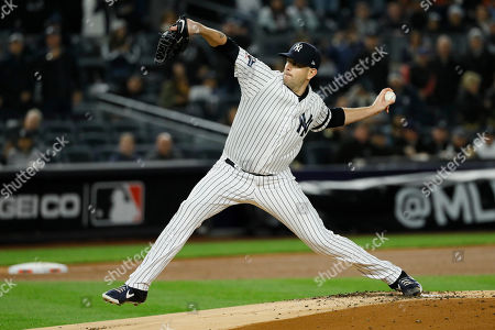 New York Yankees starting pitcher James Paxton throws against the Houston Astros during the first inning in Game 5 of baseball's American League Championship Series, in New York