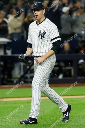 New York Yankees starting pitcher James Paxton celebrates after Houston Astros' Robinson Chirinos made the final out in the top of the sixth inning in Game 5 of baseball's American League Championship Series, in New York