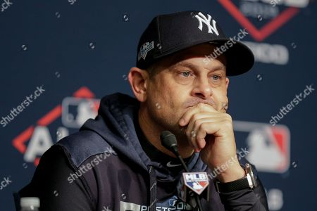 Stock Photo of New York Yankees manager Aaron Boone answers questions before Game 5 of baseball's American League Championship Series against the Houston Astros, in New York