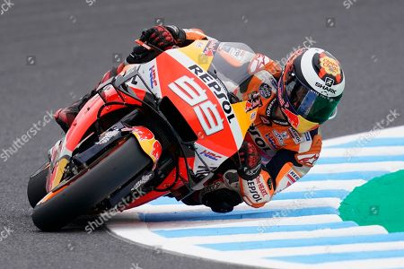 Spanish MotoGP rider Jorge Lorenzo of Repsol Honda Team in action during a free practice session for the MotoGP Motorcycle Grand Prix of Japan at Twin Ring Motegi in Motegi, Tochigi Prefecture, north of Tokyo, Japan, 18 October 2019.Â