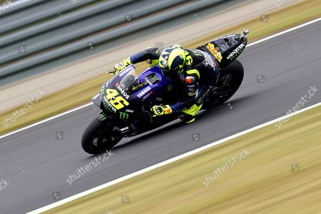 Italian MotoGP rider Valentino Rossi of Monster Energy Yamaha MotoGP Team in action during a free practice session for the MotoGP Motorcycle Grand Prix of Japan at Twin Ring Motegi in Motegi, Tochigi Prefecture, north of Tokyo, Japan, 18 October 2019.Â