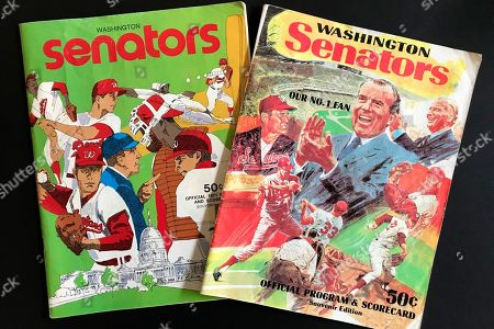 Stock Photo of Washington Senators programs, including one featuring Richard Nixon and Ted Williams, right, are shown in New York, . Growing up in the Washington suburbs during the 1960s, the local baseball team was a lost cause. A trip to the World Series like these Nationals? Forget it