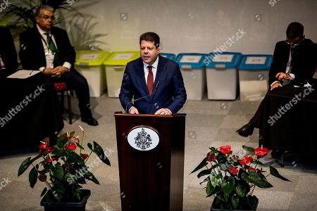 Leader of the Gibraltar Socialist Labour Party, Fabian Picardo makes a speech after securing a win in the general election, in Gibraltar, Friday Oct. 18. 2019. An election for Gibraltar's 17-seat parliament took place under a cloud of uncertainty about what Brexit will bring for the speck of British territory on Spain's southern tip. In the 2016 referendum, 96% of the 34,000 residents voted not to leave the European Union
