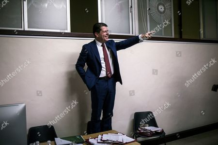 Stock Image of Leader of the Gibraltar Socialist Labour Party, Fabian Picardo addresses party members after securing a win in the general election, in Gibraltar, Friday Oct. 18. 2019. An election for Gibraltar's 17-seat parliament took place under a cloud of uncertainty about what Brexit will bring for the speck of British territory on Spain's southern tip. In the 2016 referendum, 96% of the 34,000 residents voted not to leave the European Union