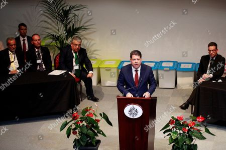 Stock Picture of Fabian Picardo (C), leader of the Gibraltar Socialist Labour Party (GSLP) and acting Chief Minister of Gibraltar, delivers a speech after it was announced that he won the general election in Gibraltar, a British enclave in southern Spain, 18 October 2019. Picardo won the election for third time in a row after gaining the 52.5 percent of the votes.