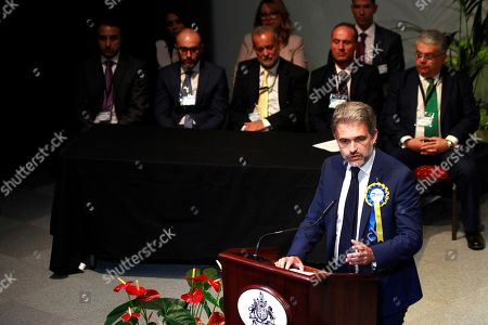 Keith Azopardi, leader of the Gibraltar Social Democrats (GSD) party, delivers a speech after the general election results were announced, in Gibraltar, a British enclave in southern Spain, 18 October 2019. Chief Minister Fabian Picardo won the election for a third time in a row after gaining 52.5 percent of the votes.
