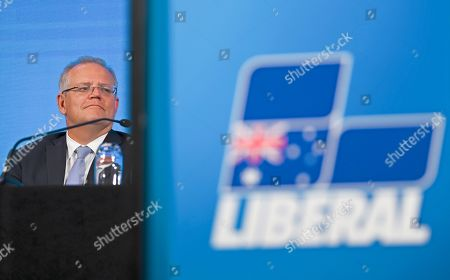 Australian Prime Minister Scott Morrison attends the 61st Federal Council of the Liberal Party of Australia at the Hyatt Hotel in Canberra, Australian Capital Territory, Australia, 18 October 2019.