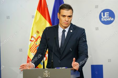 Spanish Primer Minister Pedro Sanchez holds a news conference after the European Council summit in Brussels, Belgium, 18 October 2019.