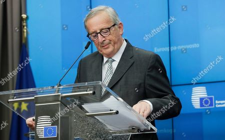 President of the European Comission Jean-Claude Juncker gives a press conference at the end of a European Council summit in Brussels, Belgium, 18 October 2019. This news conference is supposed to be the last one in a summit of both Presidents during their mandate.
