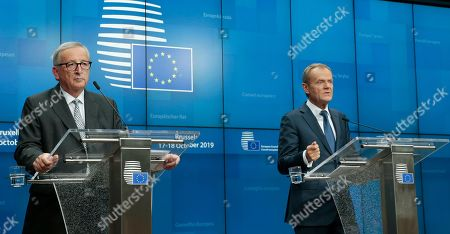 President of the European Comission Jean-Claude Juncker (L) and President of the European Council, Donald Tusk give a press conference at the end of a European Council summit in Brussels, Belgium, 18 October 2019. This news conference is supposed to be the last one in a summit of both Presidents during their mandate.