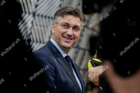 Croatian Prime Minister Andrej Plenkovic  arrives at the second day of a European Summit at the European Council in Brussels, Belgium, 18 October 2019.  The European Union (EU) and the British government have reached a tentative Brexit deal that still must be ratified.
