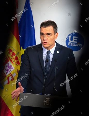 Spanish Prime Minister Pedro Sanchez speaks during a media conference at an EU summit in Brussels,. After agreeing on terms for a new Brexit deal, European Union leaders are meeting again to discuss other thorny issues including the bloc's budget and climate change