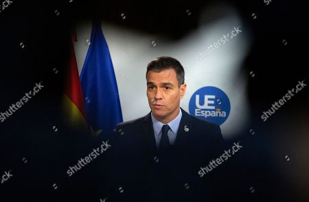 Stock Image of Spanish Prime Minister Pedro Sanchez speaks during a media conference at an EU summit in Brussels,. After agreeing on terms for a new Brexit deal, European Union leaders are meeting again to discuss other thorny issues including the bloc's budget and climate change