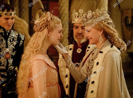 Stock Photo of Harris Dickinson as Prince Phillip, Elle Fanning as Aurora, Robert Lindsay as King John and Michelle Pfeiffer as Queen Ingrith