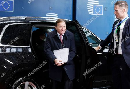 Swedish Prime Minister Stefan Lofven arrives at the second day of a European Summit at the European Council in Brussels, Belgium, 18 October 2019. The European Union (EU) and the British government have reached a tentative Brexit deal that still must be ratified.
