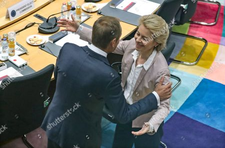 President-elect of the European Commission Ursula Von der Leyen (L) and European Council President Donald Tusk attend the second day of a EU Summit in Brussels, Belgium, 18 October 2019. The European Union (EU) and the British government have reached a tentative Brexit deal that still must be ratified.