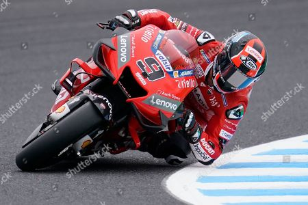 Italian MotoGP rider Danilo Petrucci of Ducati Team in action during a free practice session for MotoGP Motorcycling Grand Prix of Japan at Twin Ring Motegi in Motegi, Tochigi Prefecture, north of Tokyo, Japan, 18 October 2019.