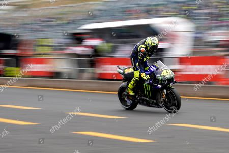 Italian MotoGP rider Valentino Rossi of Monster Energy Yamaha MotoGP Team pits out during a free practice session for MotoGP Motorcycling Grand Prix of Japan at Twin Ring Motegi in Motegi, Tochigi Prefecture, north of Tokyo, Japan, 18 October 2019.