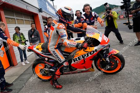 Spanish MotoGP rider Jorge Lorenzo of Repsol Honda Team pits out during a free practice session for MotoGP Motorcycling Grand Prix of Japan at Twin Ring Motegi in Motegi, Tochigi Prefecture, north of Tokyo, Japan, 18 October 2019.