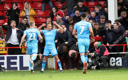 Luke Varney (32)  of Cheltenham Town celebrates his goal during the Walsall v Cheltenham Town game in League Two at The Bank's Stadium, Walsall, West  Midlands, UK 19\10\2019