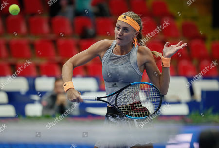 Kristina Mladenovic of France returns during her match against Kiki Bertens of Netherlands at the Kremlin Cup tennis tournament in Moscow, Russia, 18 October 2019.