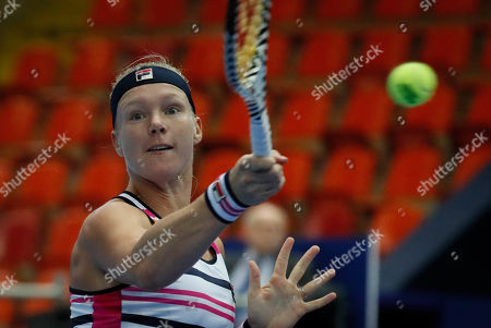 Kiki Bertens of the Netherlands returns to Kristina Mladenovic of France during their match at the Kremlin Cup tennis tournament in Moscow, Russia, 18 October 2019.