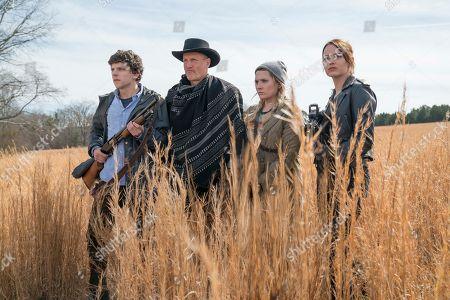 Jesse Eisenberg as Columbus, Woody Harrelson as Tallahassee, Abigail Breslin as Little Rock and Emma Stone as Wichita
