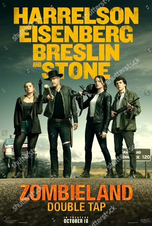Zombieland: Double Tap (2019) Poster Art. Abigail Breslin as Little Rock, Woody Harrelson as Tallahassee, Emma Stone as Wichita and Jesse Eisenberg as Columbus