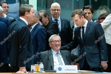 Stock Photo of Xavier Bettel, Jean-Claude Juncker, Emmanuel Macron