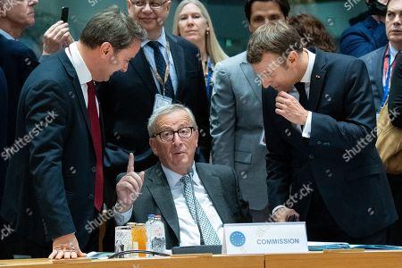 Stock Image of Xavier Bettel, Jean-Claude Juncker, Emmanuel Macron