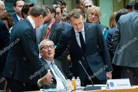 Xavier Bettel, Jean-Claude Juncker, Emmanuel Macron
