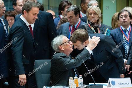 Stock Picture of Xavier Bettel, Jean-Claude Juncker, Emmanuel Macron