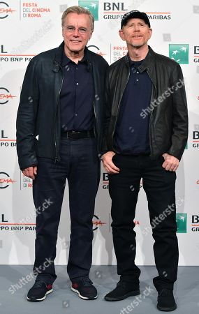 Ron Howard and British producer Nigel Sinclair (L) pose during the photocall for 'Pavarotti' at the 14th annual Rome Film Festival, in Rome, Italy, 18 October 2019. The film festival runs from 17 to 27 October.