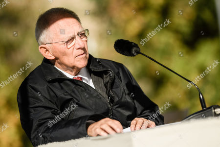 The president of the German Parliament Bundestag Wolfgang Schauble gives a speech during a commemoration ceremony at the 'Gleis 17' (lit.: Track 17) memorial site in the Grunewald district of Berlin, Germany, 18 October 2019. A ceremony was held at the notorious 'Gleis 17' to commemorate the thousands of Jews who were deported from here from October 1941 on by the Nazis to the concentration and death camps 78 years ago.