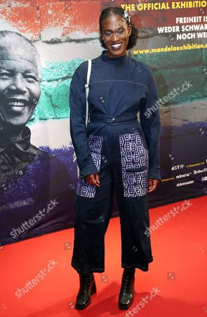 Stock Image of German singer Ivy Quainoo poses during a photocall of the exhibition 'Mandela -The Official Exhbition' in Berlin, Germany, 18 October 2019. The new global touring exhibition shows Mandela's life from his struggles as a freedom fighter to becoming a political leader.