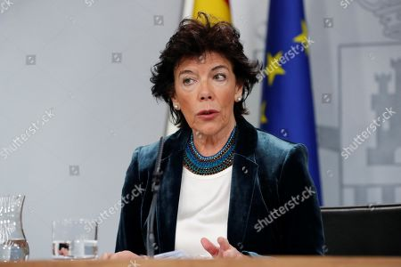 Spanish Government's spokesperson, Isabel Celaa, holds a press conference following a Cabinet Meeting at La Moncloa palace in Madrid, Spain, 18 October 2019. The meeting was held coinciding with the general strike called in Catalonia by pro-independence unions against the sentence ordered by the Supreme Court against the Catalan political figures accused in the 'proces' trial for their role in the organization of the illegal referendum held back in 2017.