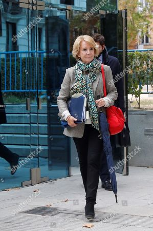 Former president of the community of Madrid, Esperanza Aguirre, leaves after testifying in the so-called 'Punica' case at the National Court in Madrid, Spain, 18 October 2019. Aguirre, who was President of the People's Party (PP) in Madrid from 2004 to 2012, is under investigation for her role in the 'Punica' case for the alleged illegal funding by the Madrid PP.