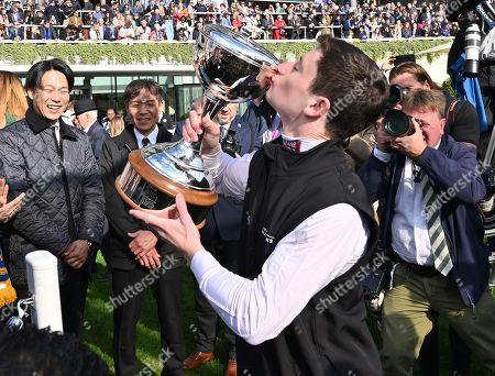 Oisin Murphy, crowned Champion Flat Jockey for 2019, with his trophy.