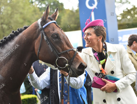 Stock Picture of Anna-Lisa Balding, wife of of the trainer of Donjuan Triumphant  after winning The Qipco British Champions Sprint Stakes.