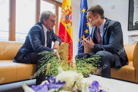 European Parliament President David Sassoli meets with Prime Minister of Spain Pedro Sanchez