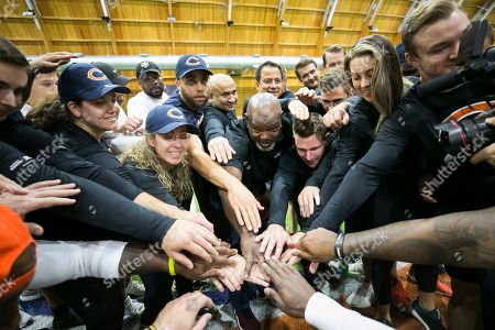 Members of Marriott Bonvoy bid their points to participate in the exclusive moments masterclass led by NFL Hall of Fame running back Emmitt Smith and former Chicago Bear Johnny Knox on at Halas Hall in Lake Forest, Ill