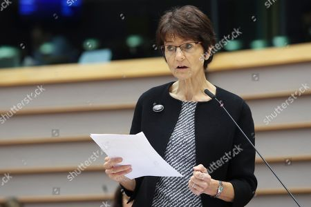 Stock Photo of Marianne Thyssen at a plenary session with the President of the European Investment Bank to renew calls for the EIB to to better prioritise climate and the environment.