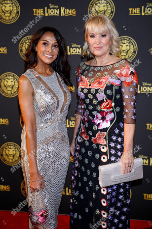 Jackie St Clair and Nicki Chapman arrive at the 20th anniversary gala performance for Disney's The Lion King at the Lyceum Theatre in London.