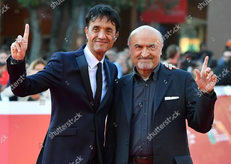 Giulio Base (L) and Italian actor Ivano Marescotti (R) arrive for the screening of 'Bar Giuseppe' at the 14th annual Rome Film Festival, in Rome, Italy, 18 October 2019. The film festival runs from 17 to 27 October 2019.